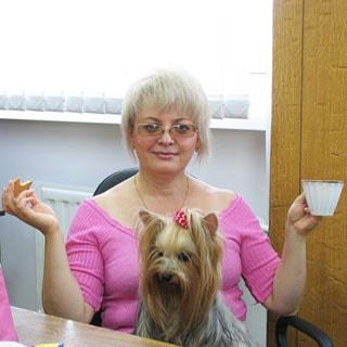 На фото: женщина в розовой кофточке сидит в офисе, развела руки в стороны, в одной - печенье, в другой - чашка, смотрит прямо на вас и улыбается, у нее на коленях йоркширский терьер с бантиком, смотрит на печень на столе, блондинка с блондинкой
