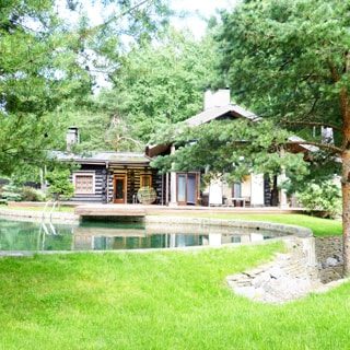 На фото: одноэтажный загородный дом из бревнав окружении сосен, перед домом - открытый бассейн, на переднем плане - газон