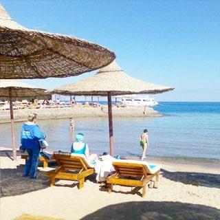 На фото: солнечный день, берег моря, пляж, пляжные зонтики из тростника, пляжные лежаки, люди в море и на пляже
