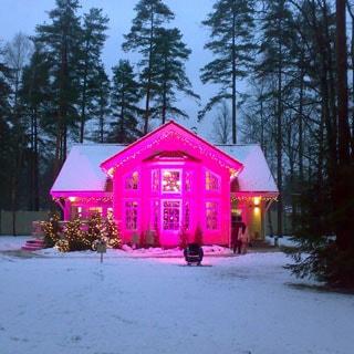 На фото: вечер, одноэтажный коттедж в скандинавском стиле, с праздничной подсветкой розового цвета, на участке - выпавший снег, на заднем плане - корабельные сосны