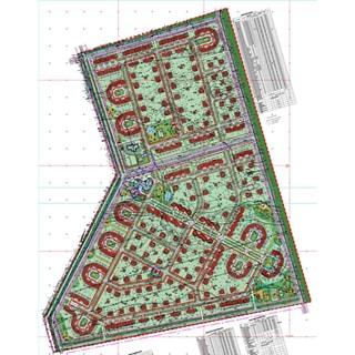 На рисунке: план застройки территории участка, обозначены границы, места застройки, элементы благоустройства, внутриквартальные проезды, приведены таблицы с текстовой информацией, но текст не читаем в этом масштабе