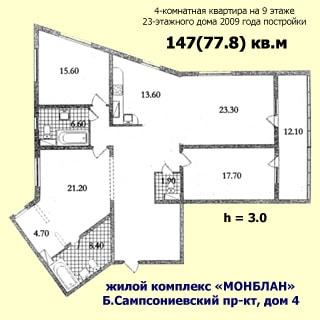 На рисунке приведен план квартиры. На плане: указаны площади помещений, высота потолков, количество комнат, общая и жилая площадь, этаж квартиры, этажность, год постройки, название жилого комплекса и адрес дома