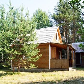 На фото: небольшой одноэтажный садовый дом, обшит вагонкой, с верандой, с мансардой, перед домом - участок, невысокая трава, сосны
