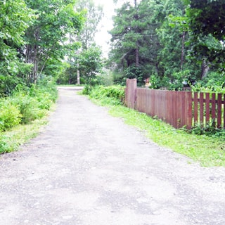 На фото: асфальтированная дорога, одна полоса без тротуаров, справа - деревянный забор и земельный участок за ним, слева - кустарник и деревья, впереди на дальнем плане - пересечение с другой дорогой