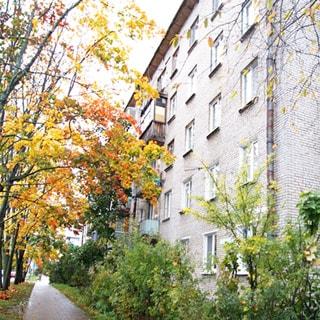 На фото: часть фасада пятиэтажного кирпичного многоквартирного жилого дома, балконы, часть балконов застеклена, придомовая территория благоустроена, газон, кусты, деревья, пешеходная дорожка вымощена тротуарным камнем, проезжая часть отделена от тротуара газоном