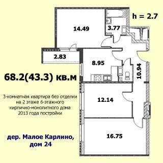 На рисунке приведен план квартиры. На плане: указаны площади помещений, высота потолков, количество комнат, степерь отделки, общая и жилая площадь, этаж квартиры, этажность, год постройки, материал стен и адрес дома