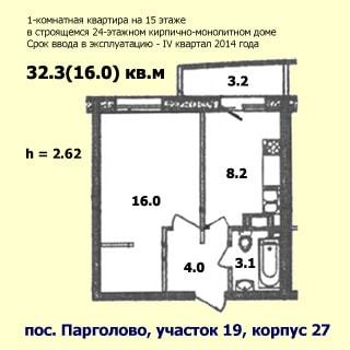 На рисунке приведен план квартиры. На плане: указаны площади помещений, высота потолков, количество комнат, общая и жилая площадь, этаж квартиры, этажность, планируемый квартал и год ввода в эксплуатацию, материал стен и строительный адрес дома