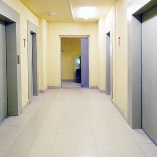 На фото: лифтовый холл седьмого этажа, четыре лифта, выход в холл, полы - плитка, стены - окрашены