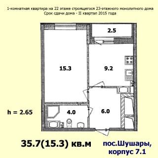 На рисунке приведен план квартиры. На плане: указаны площади помещений, высота потолков, количество комнат, общая и жилая площадь, этаж квартиры, этажность, квартал и год планируемой сдачи, материал стен и адрес дома