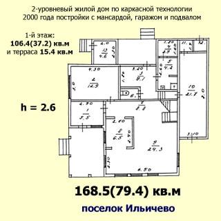 На рисунке: план первого этажа дома с указанием этажности, типа и года постройки дома, общей и жилой площади всего дома и первого этажа, площадей помещений и высоты потолков этажа, названия поселка