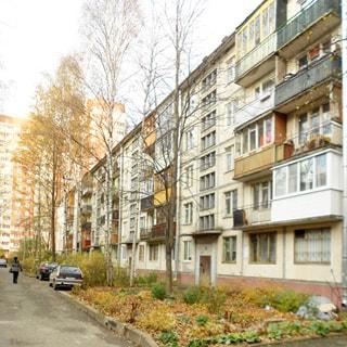 На фото: часть фасада панельного пятиэтажного многоквартирного жилого дома, балконы, часть балконов застеклена, благоустроенная придомовая территория, газон, деревья, припаркованные автомобили