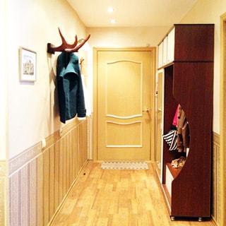 На фото: часть помещения прихожей, входная дверь, слева на стене - оленьи рога в качестве вешалки, справа вдоль стены - одежный шкаф, вешалка для верхней одежды и тумба для обуви