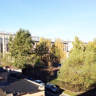 На фото: вид из окна в зеленый большой двор, газон, деревья, огороженная спортивная площадка, на придомовой территории - припаркованные автомобили