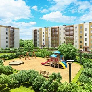 На рисунке: проектный эскиз жилого комплекса, два пятиэтажных жилых дома, зеленый благоустроенный двор с оборудованной детской площадкой, газоны, кустарники, деревья, уличное освещение, асфальтированные внутридомовые проезды