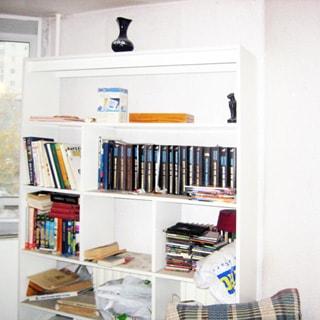 На фото: часть помещения жилой комнаты, окно, в центре у стены - книжный стеллаж с книгами, белые стены и потолок