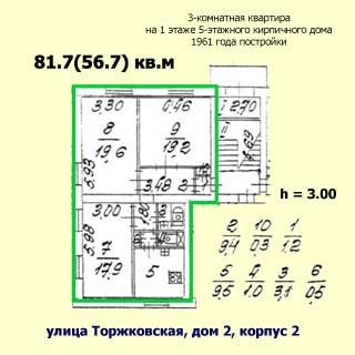 На рисунке приведен план квартиры. На плане: обозначены границы квартиры, указаны номера, площади и размеры помещений, высота потолков, количество комнат, общая и жилая площадь, этаж квартиры, этажность, год постройки, материал стен и адрес дома, показана лестничная площадка