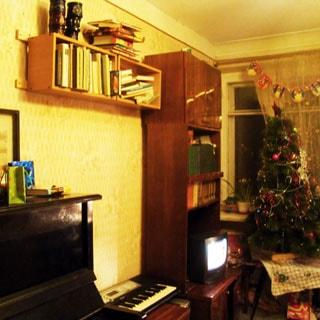 На фото: часть помещения жилой комнаты, окно, у окна столик с новогодней елкой, слева от окна вдоль стены - мебельная секция с полками для книг и тумбой под телевизор, леве на стене - книжная полка, левее у стены - пианино, стены оклеены обоями