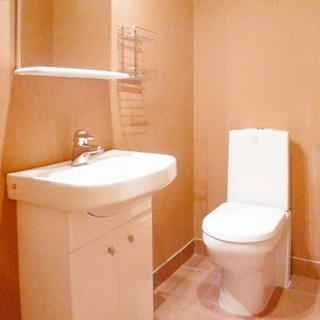 На фото: помещение туалета, прямо у стены - унитаз - компакт, слева у стены на тумбе - керамическая раковина со смесителем, над раковиной - зеркало с полкой, пол облицован керамической плиткой