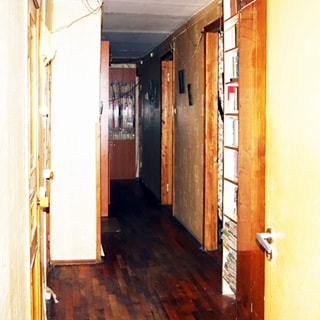На фото: часть помещения коридора и прихожей, полы - паркет, слева - входная дверь, справа - двери в соседние помещения, спрва у стены - книжный стеллаж, на дальнем плане в конце коридора - книжный шкаф