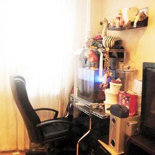 На фото: часть помещения жилой комнаты, окно, мягкая мебель, справа от окна - компьютерный столик с аквариумом и офисное кресло, над столиком на стене - полки, правее - тумба с телевизором