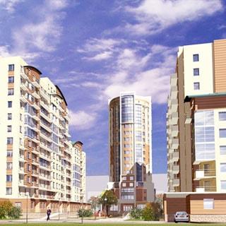 На рисунке - эскизный проект жилого комплекса Авангард: три жилых корпуса разной высоты с балконами, пандусами для доступа маломобильных групп населения, перед домом - детская площадка, газон, деревья.
