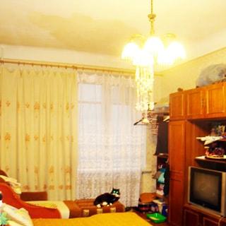 На фото: часть помещения жилой комнаты, окно, слева у стены разложенный диван - кровать, разложенное кресло - кровать, на кресле- кошка, справа у стены мебельная стойка со шкафом, телевизором, полками и комодом, стены оклеены обоями, на потолке - люстра