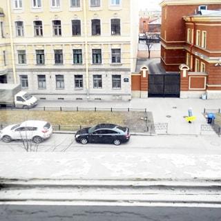 На фото: вид из окна на улицу, проезжая часть с припаркованными автомобилями, вершина дерева, огороженный газон и тротуар у дома напротив