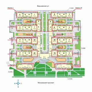 На рисунке приведен план жилого комплекса. На плане: обозначены границы комплекса, указаны номера и литеры корпусов и строений, указано расположение зеленых и прогулочных зон, места парковки автотранспорта, обозначено расположение Варшавской улицы и Московского проспекта, а также направления розы ветров