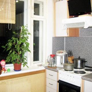 На фото: часть помещения кухни, окно, под окном закрытый декоративной решеткой радиатор центрального отопления, справа от окна - кухонная туба, 4-комфорочная электрическая плита с духовкой, над тумбой - навесной шкафчик, над плитой - вытяжка, над вытяжкой - телевизор