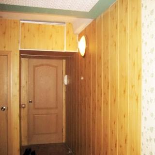 На фото: часть помещения коридора и прихожей, входная дверь, справа от двери на стене - трубка домофона, стена облицована сайдингом под дерево, на стене плафон освещения, полы - линолеум