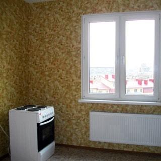 На фото: часть помещения кухни, двустворчатое окно со стеклопакетом, под окном - батарея центрального отопления, слева у стены - четырехкомфорочная электрическая плита с духовым шкафом, стены и пол облицованы древесно-волокнистой плитой