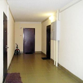 На фото: часть помещения межквартирного холла, в квартирах - металличекие входные двери, полы холла облицованы керамической плиткой, стены окрашены, справа на стене - ящик приборов учета электроэнергии