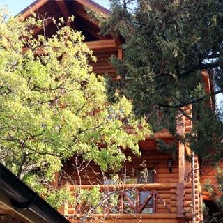 На фото: часть фасада трехэтажного индивидуального жилого дома, первый высокий этаж - каменный, второй и третий - из оцилиндрованного бруса, двускатная кровля, на втором и третьем этаже - балконы, перед домом деревья, на переднем плане - часть хозяйственной постройки или навеса