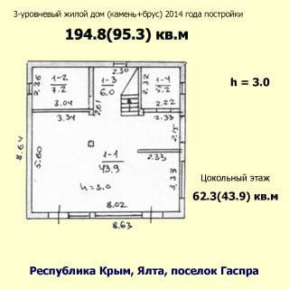 На рисунке изображен план цокольного этажа. На плане приведены планировки, номера, размеры, высота потолков, общая и жилая площадь помещений на этаже, указан тип дома, этажность, материал стен, год постройки, адрес, общая и жилая площадь всего дома