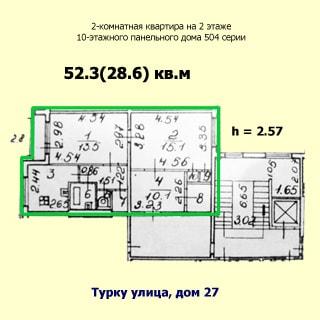 На рисунке приведен план квартиры. На плане: обозначены границы квартиры, указаны номера, площади и размеры помещений, высота потолков, количество комнат, общая и жилая площадь, этаж квартиры, этажность, год постройки, материал стен, серия проекта и адрес дома