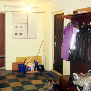 На фото: часть помещения лестничной площадки перед входом в квартиру, справа от двери - вешалка для верхней одежды с тумбой для обуви, слева от двери - закрытый щиток с электросчетчиками, полы - линолеум