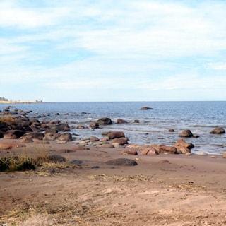 На фото: берег Финского Залива, песок, камни