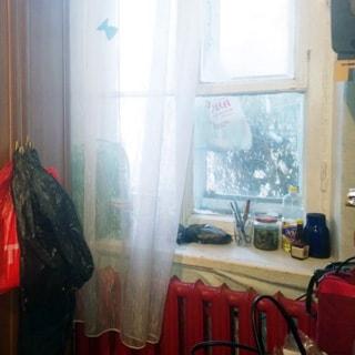 На фото: часть помещения жилой комнаты, большое двустворчатое окно во двор, под окном - радиатор центрального отопления, слева от окна - платяной шкаф
