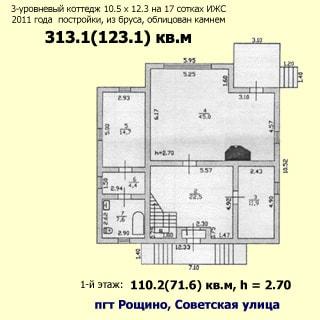 Современный коттедж 313 кв.м на 17 сотках ИЖС в Рощино (Выборгский) продается. План 1 этажа