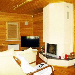 Современный коттедж 313 кв.м на 17 сотках ИЖС в Рощино (Выборгский) продается. Гостиная 45.0 кв.м с камином