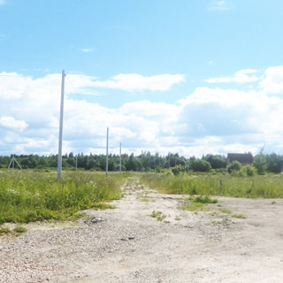 На фото: грунтовая дорога, отсыпана гравием, слева от дороги линия электропередачи на железобетонных столбах, на заднем плане - жилая постройка и опушка леса