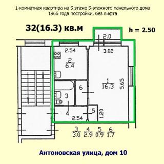 На рисунке приведен план квартиры. На плане: обозначены границы квартиры, указаны номера, площади и размеры помещений, высота потолков, количество комнат, общая и жилая площадь, этаж квартиры, этажность, год постройки, материал стен и адрес дома, отсутствие лифта