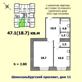 Однокомнатная квартира 47 кв.м на Шлиссельбургском проспекте (Невский, МО-52, Рыбацкое) продается. План квартиры