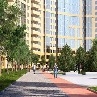 Строящаяся квартира 27(19) кв.м на проспекте Александровской Фермы (Невский, МО-51, Обуховский) продается. Фасад дома со двора