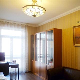 На фото: часть комнаты, окно - балконная дверь, письменный стол слева у окна, справа от окна у стены книжные шкафы, диван, полы - ламинат, на потолке - люстра.