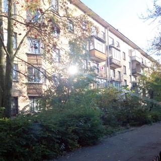 Фото сделано летом с Днепропетровской улицы. На фото: фасад кирпичного дома с эркерами и балконами, тротуар и газон с кустами и деревьями.