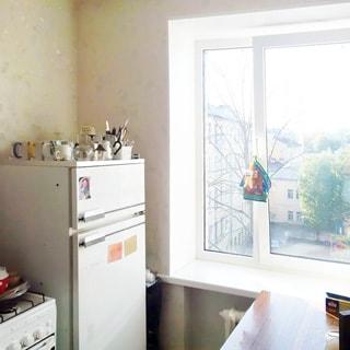 На фото: часть кухни, одно окно (стеклопакет) с видом в зеленый просторный двор, батарея центрального отопления, газовая плита, двухкамерный холодильник, обеденный стол.
