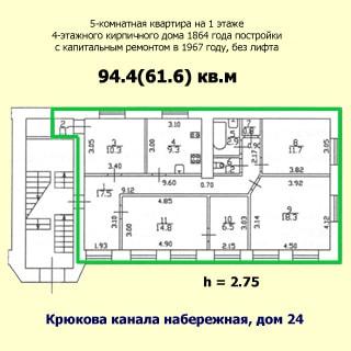 План квартиры: обозначены границы квартиры, указаны номера, площади и размеры помещений, высота потолков, количество комнат, общая и жилая площадь, этаж квартиры, этажность, год постройки и капитального ремонта, материал стен и адрес дома, отсутствие лифта