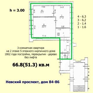 Трехкомнатная квартира 66 кв.м на Невском проспекте (Центральный, МО-79, Литейный) продается. План квартиры