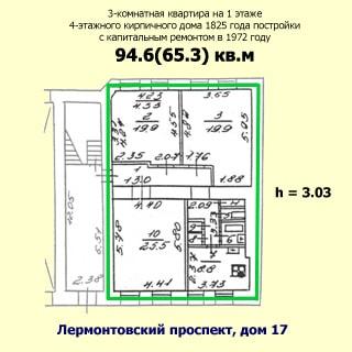 Трехкомнатная квартира 94 кв.м на углу Лермонтовского и Канонерской (Адмиралтейский, МО-1, Коломна) продается. План квартиры